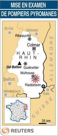 Carte du Haut-Rhin : Pompiers pyromanes à Riedisheim