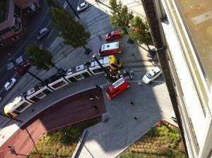 Pompiers collision tram vélo 31 août 2011